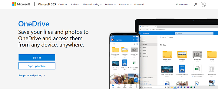 Personal Cloud Storage Microsoft OneDrive