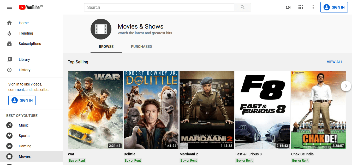 Movies Shows - YouTube - Online Streaming Services
