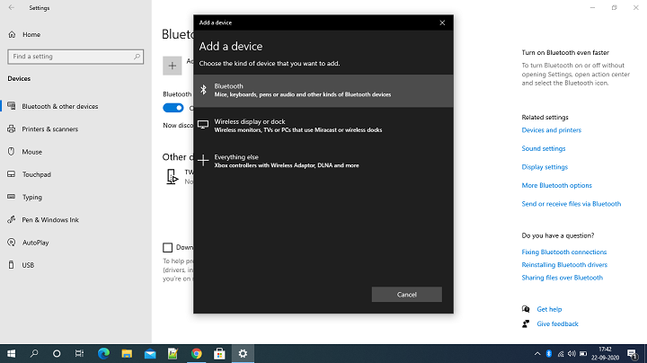 Add Bluetooth or Other Divices In Windows OS