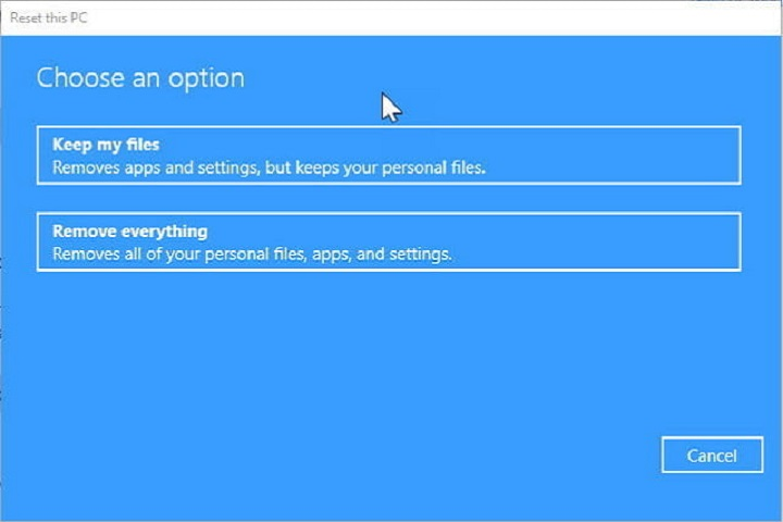 Get started button under the Reset this PC Option - restore factory windows