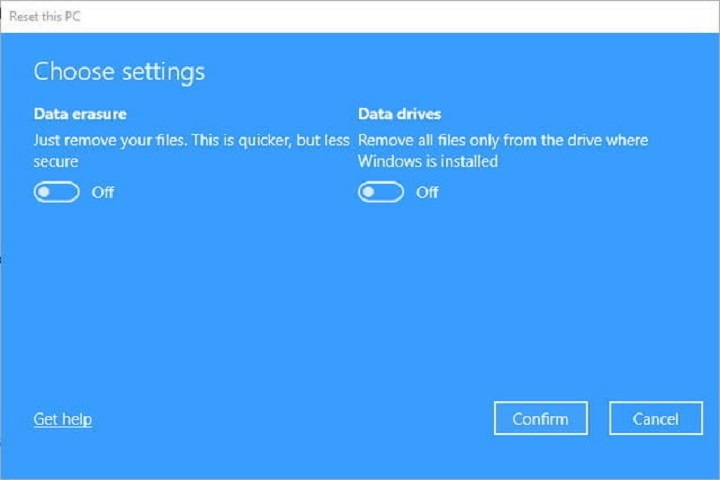 Reset Remove Files Change Settings