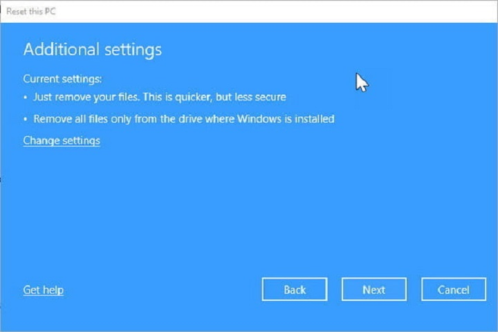 choose Delete All, the system will delete your files Additional Settings