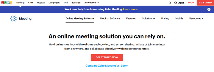 Free Online Meeting and Screen Sharing Software Zoho Meeting