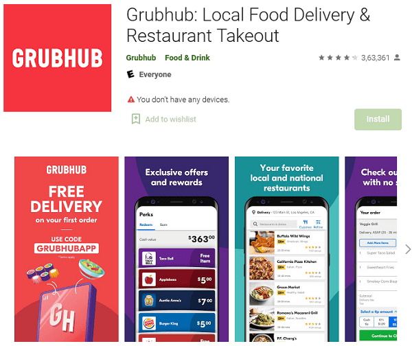 Grubhub Local Food Delivery Restaurant Takeout