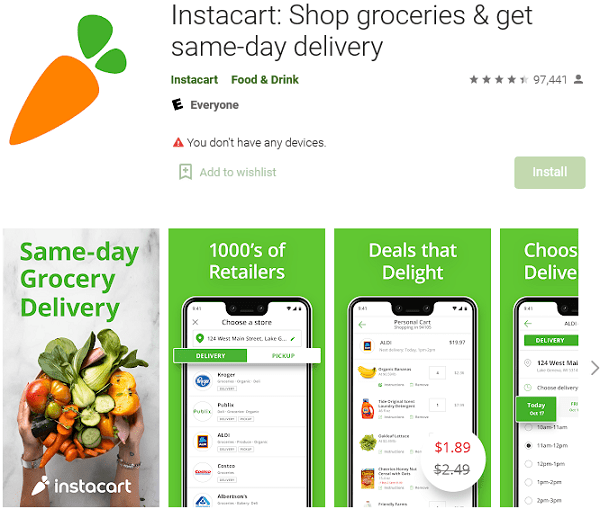 Instacart Shop groceries get same-day delivery