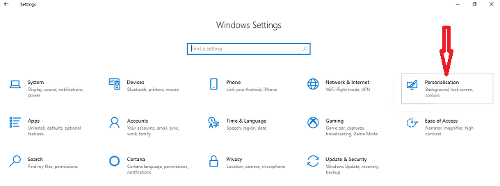 Navigate to the Personalization settings window