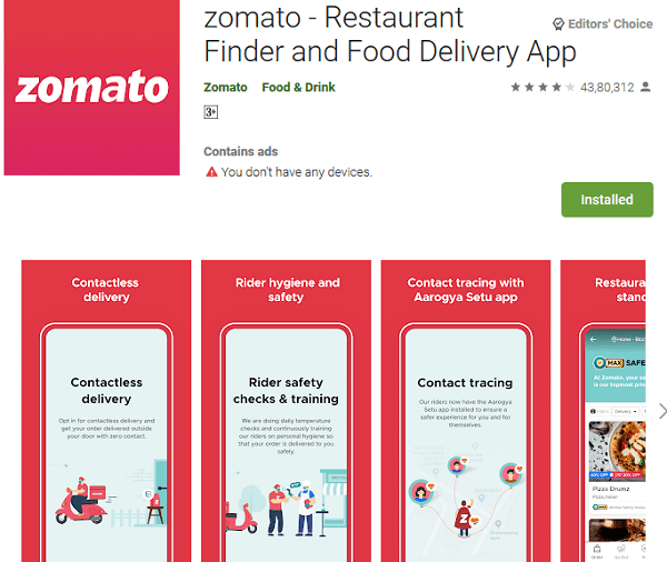 zomato Food Delivery App